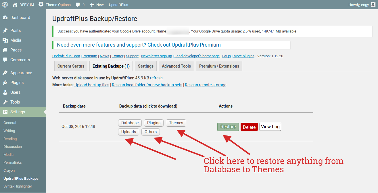 use updraftplus to save backups in google drive.